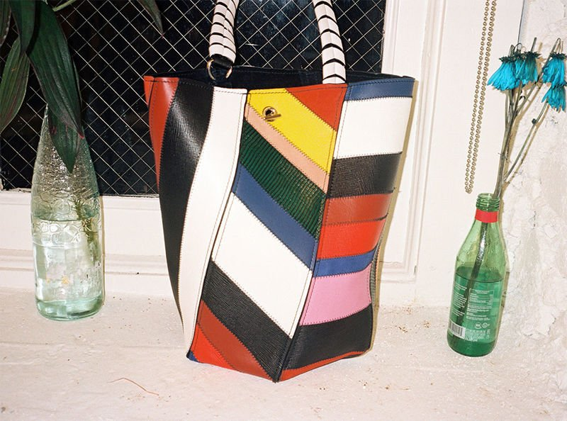 patchwork hex bucket bag