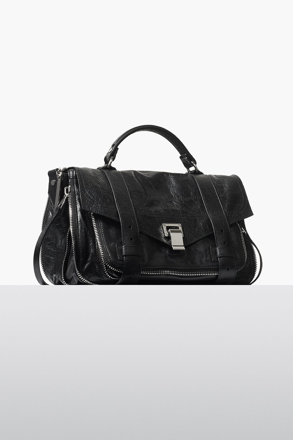 proenza schouler fall 2017 black paper leather zip ps1+ medium bag