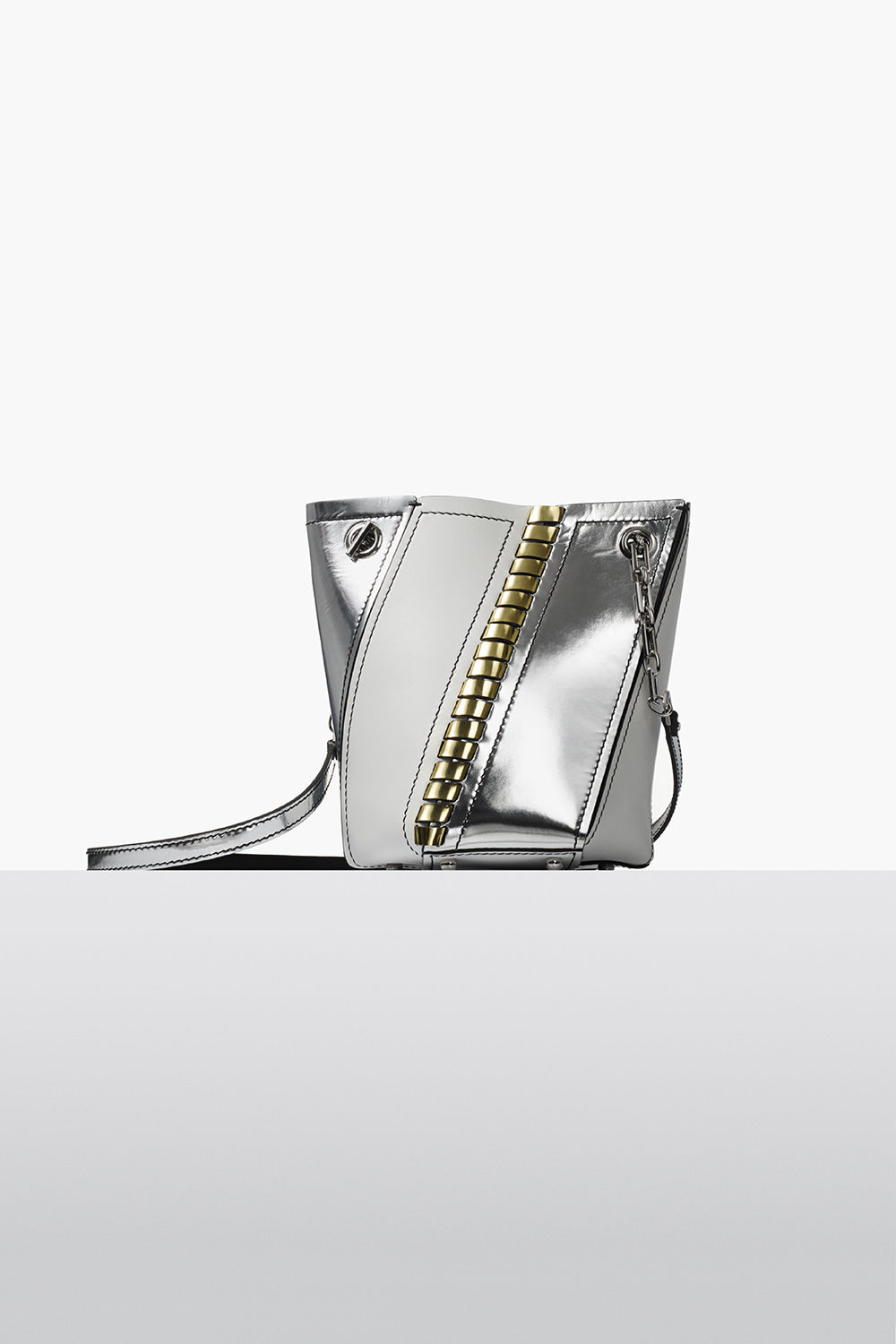proenza schouler fall 2017 optic white smooth leather and metallic leather mini hex bucket bag