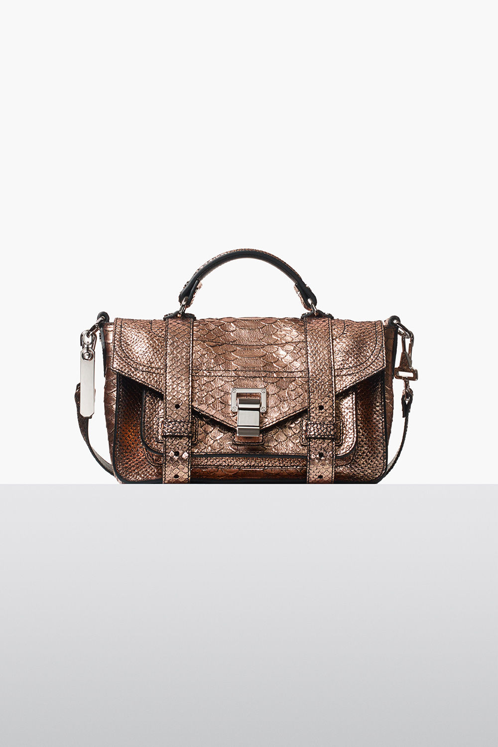 proenza schouler fall 2017 rose gold metallic embossed python ps1+ tiny bag