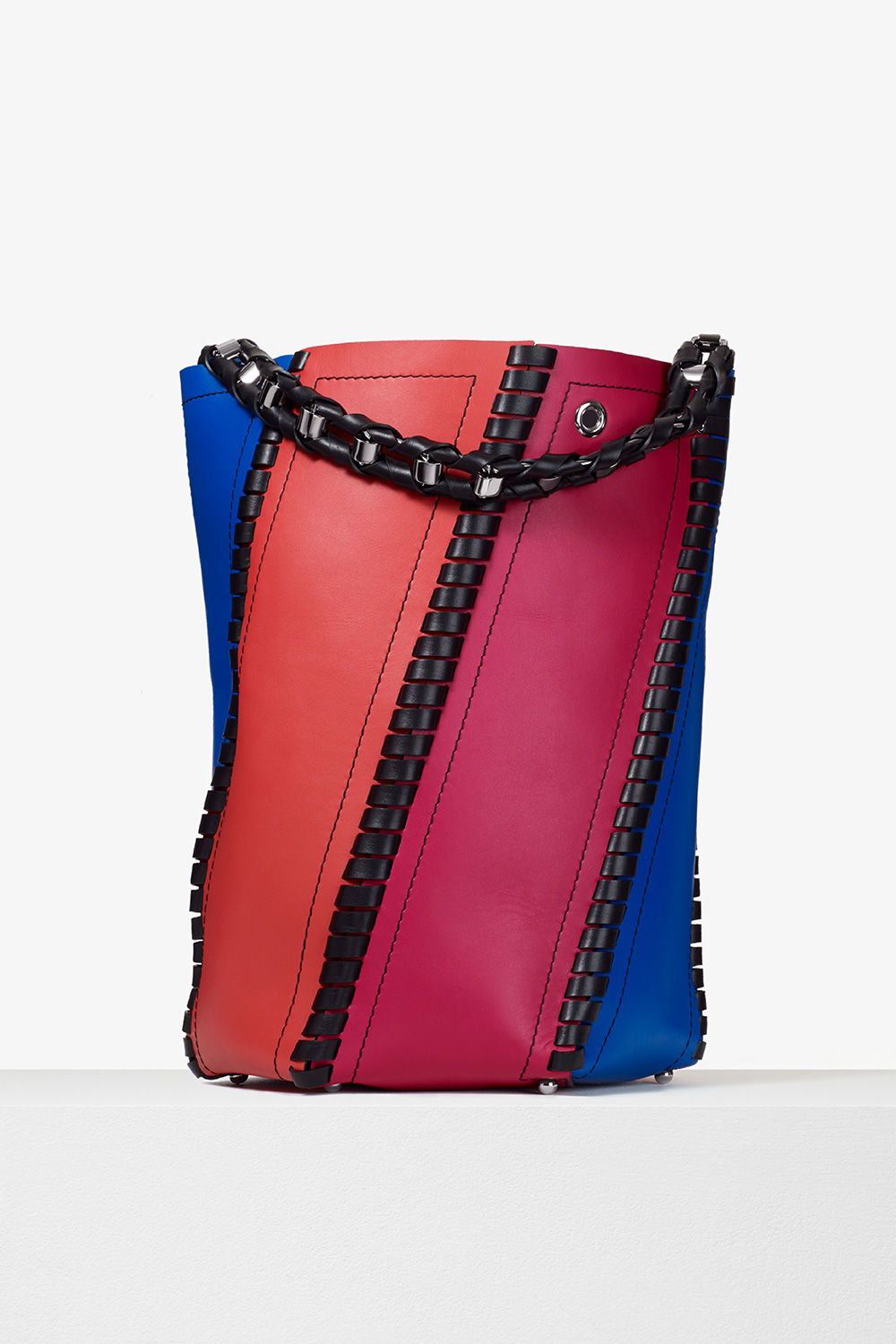 proenza schouler pre spring 2017 memphis blue geranium magenta smooth leather color block large hex whipstitch bucket bag