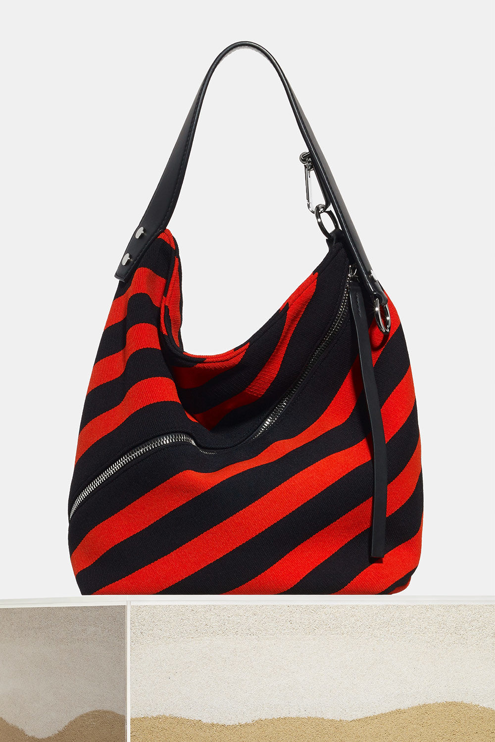 proenza schouler spring 2018 black hot coral knit stripe medium zip hobo