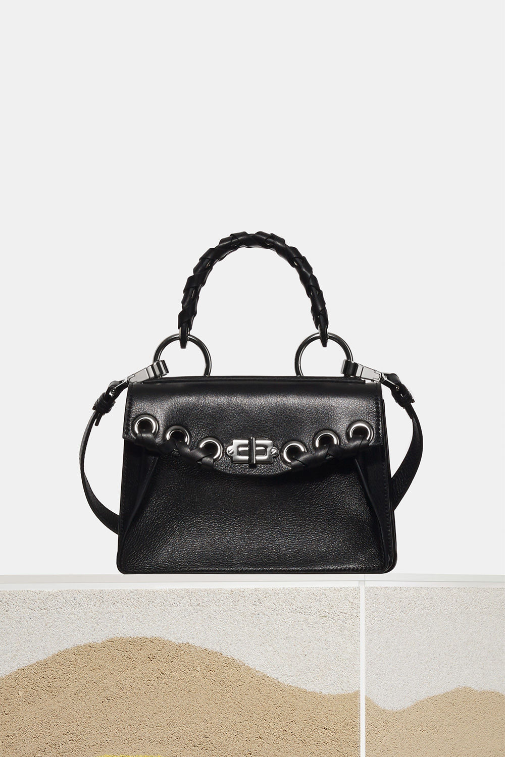 proenza schouler spring 2018 black small grain leather grommet and whipstitch small hava top handle bag