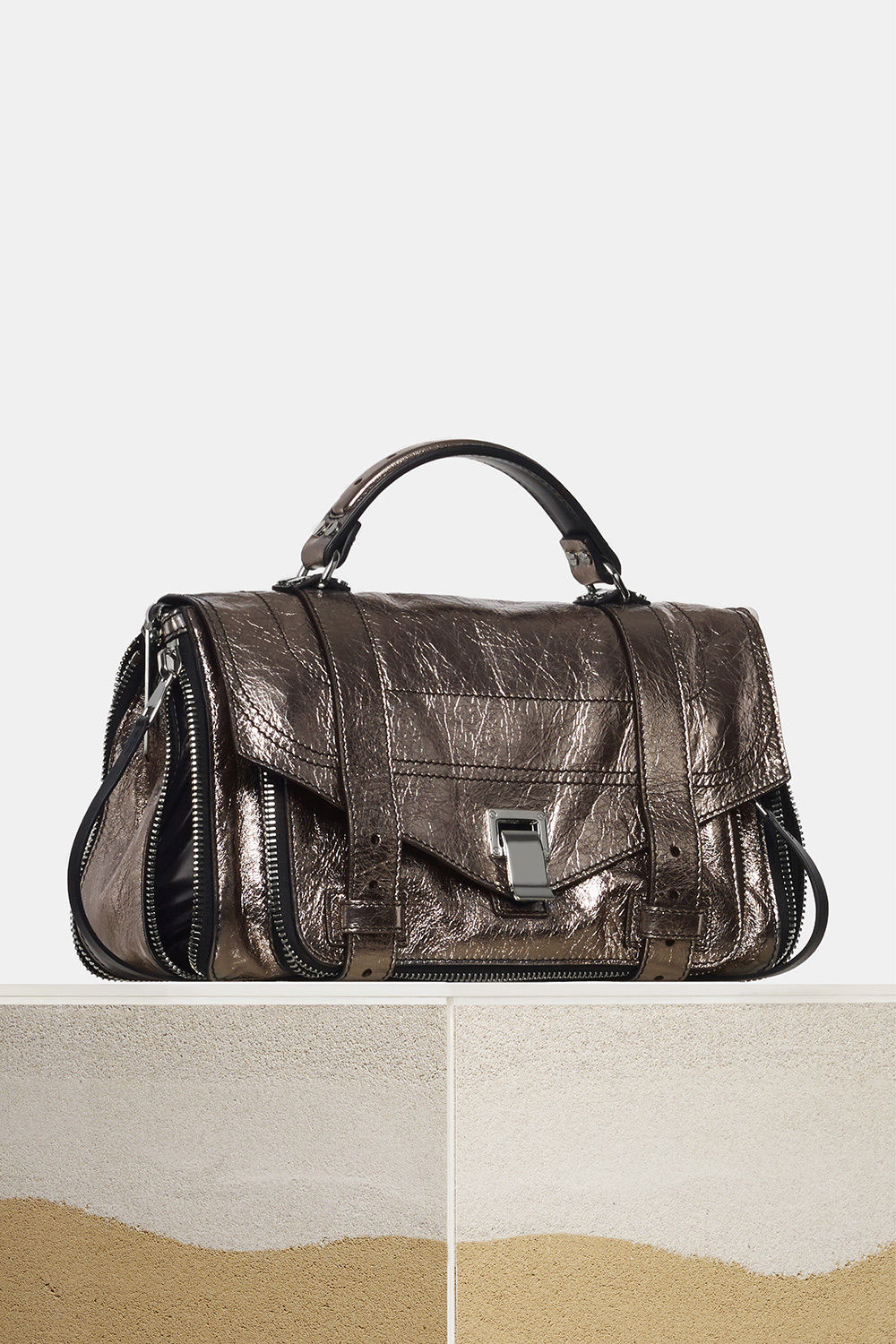 proenza schouler spring 2018 dark silver metallic paper leather zip ps1+ medium bag