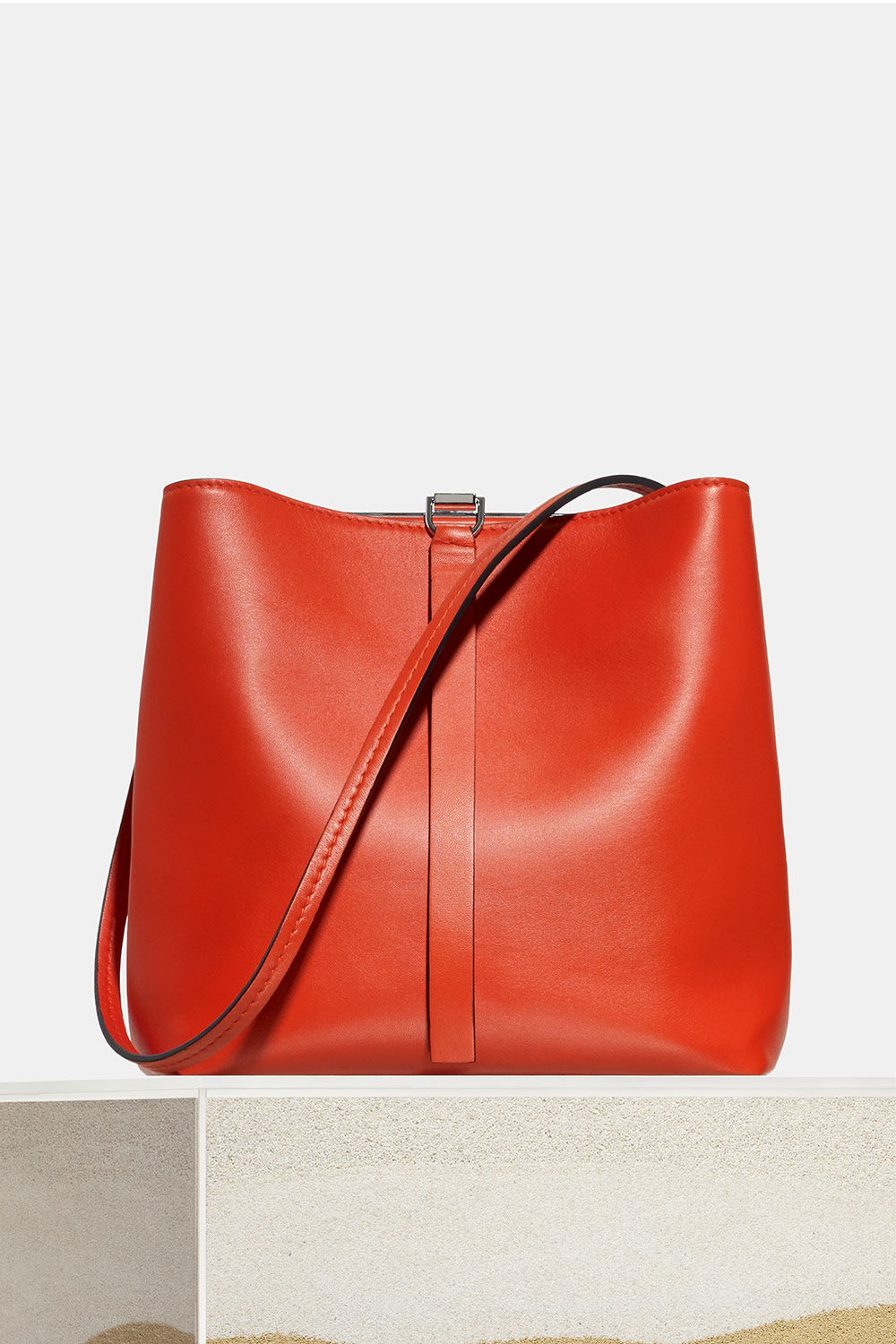 proenza schouler spring 2018 hot coral/black smooth nappa frame shoulder bag