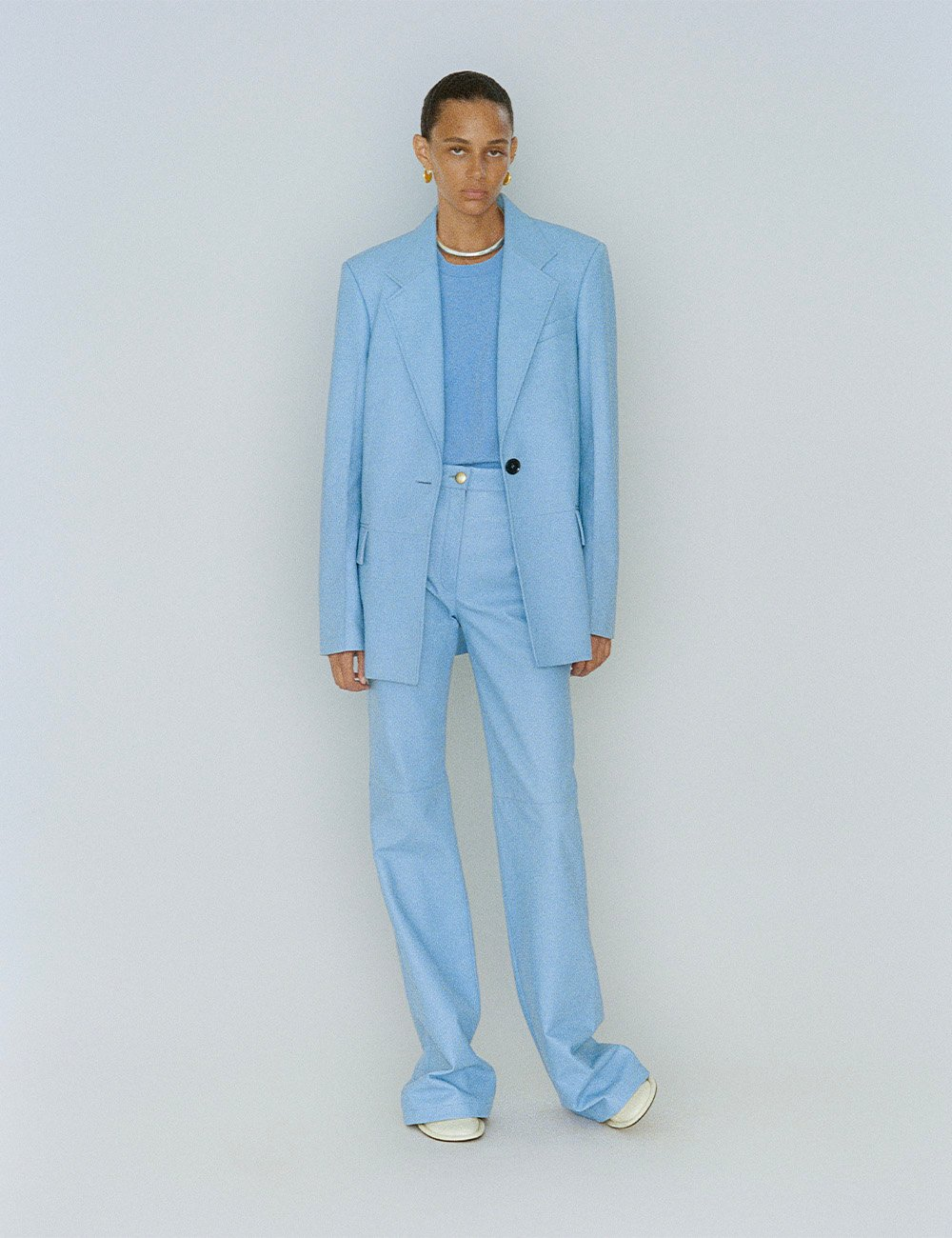 SS21 Look 12: Blue Leather Suit