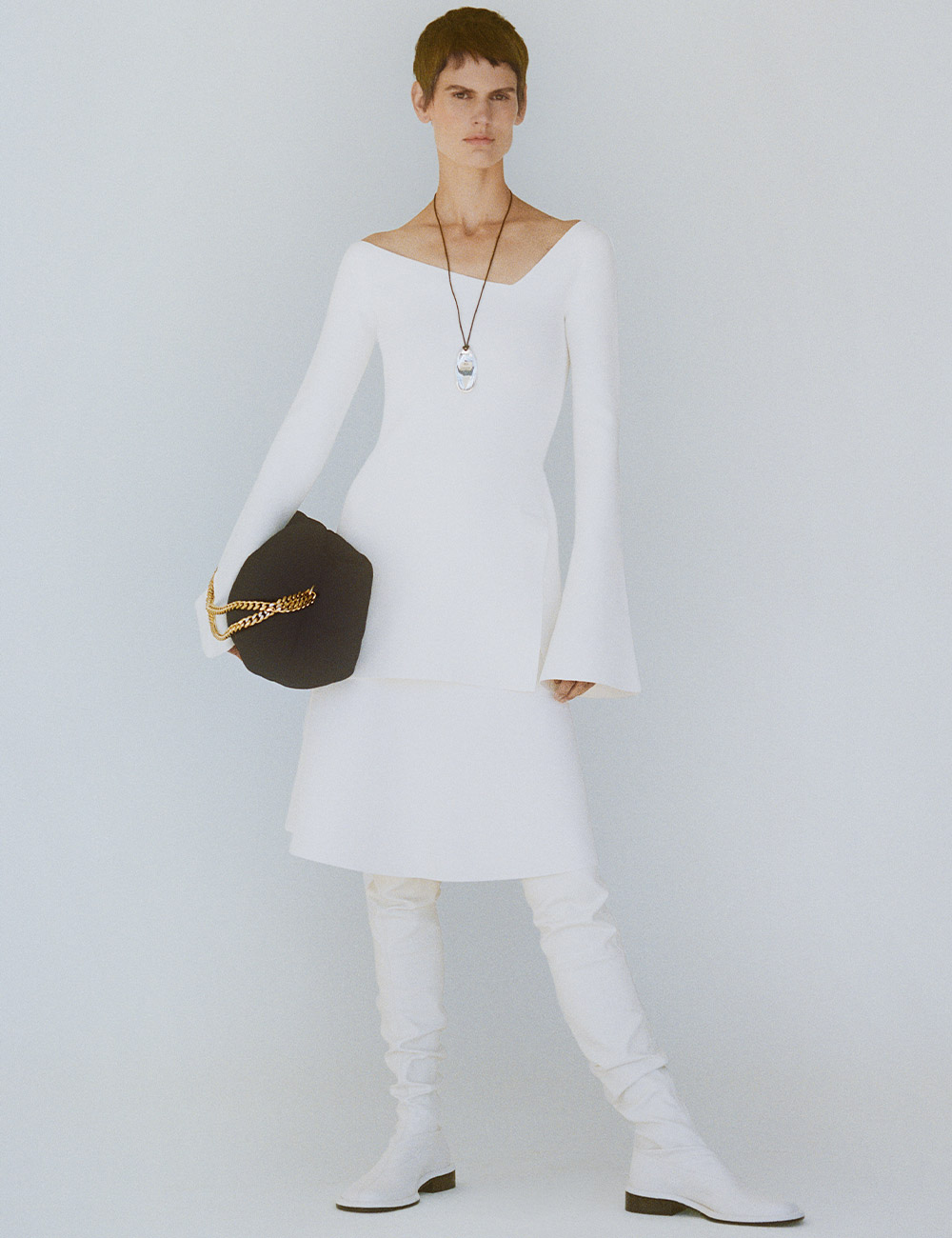 SS21 Look 24: White Knit Top and SKirt