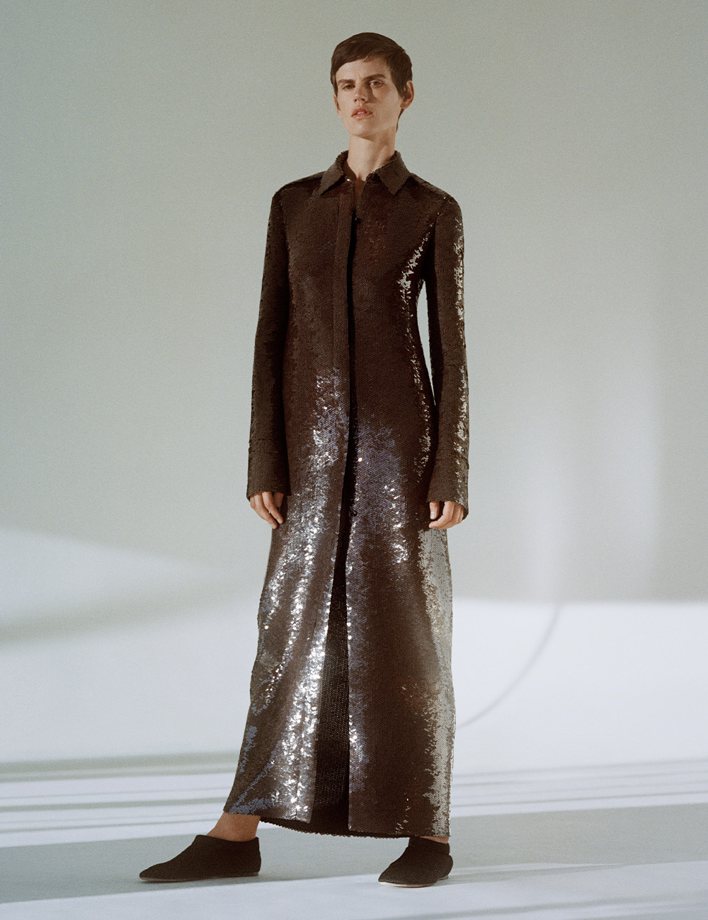 SS21 Look 32: Brown sequin dress