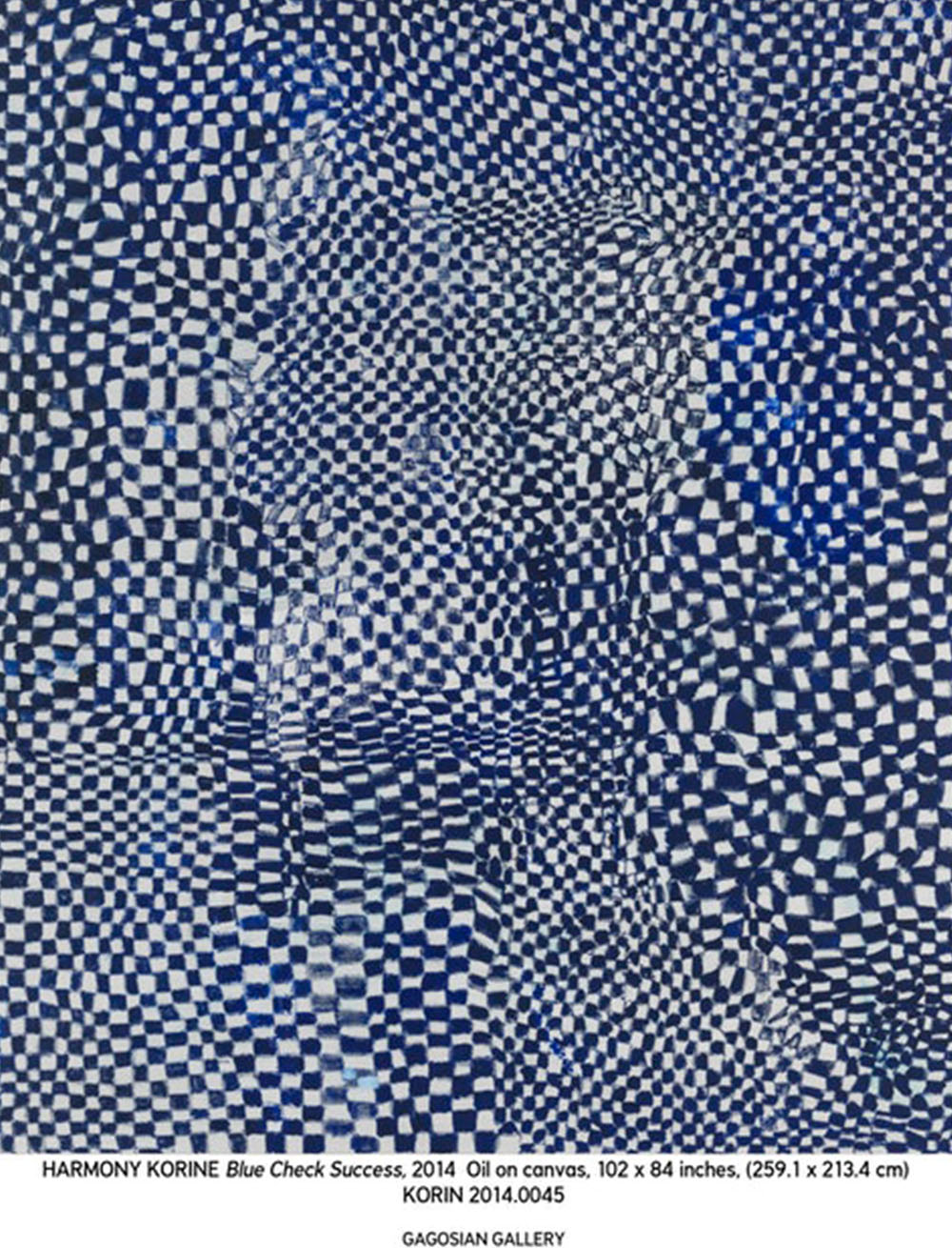 painting by harmony korine blue check success, 2014 as featured on the PS1  Medium