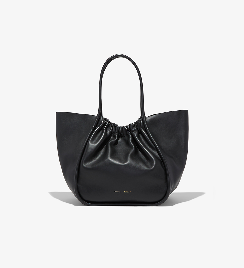 ecommerce image of the ruched tote in black