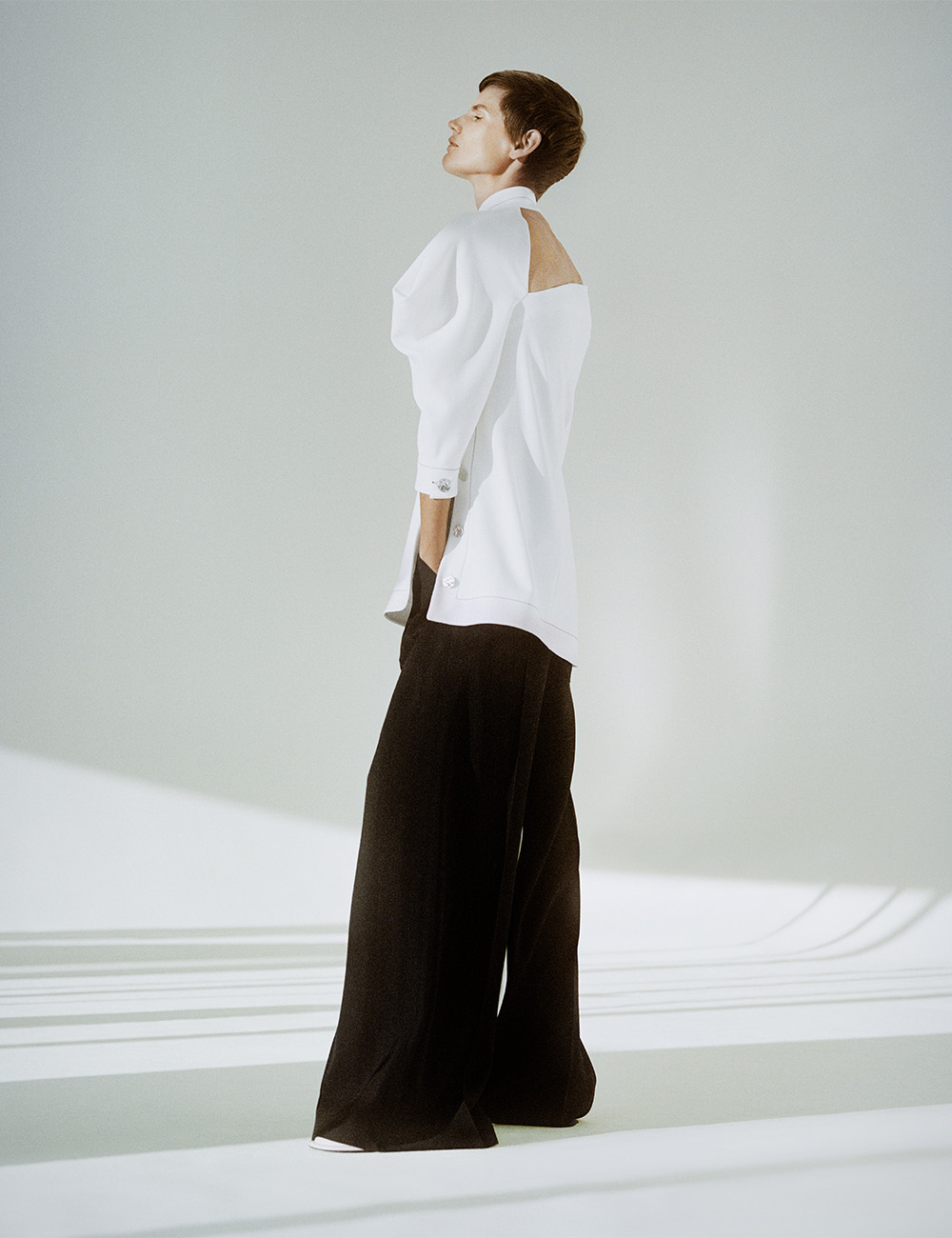 SS21 Look 22: White Top and Black Pants