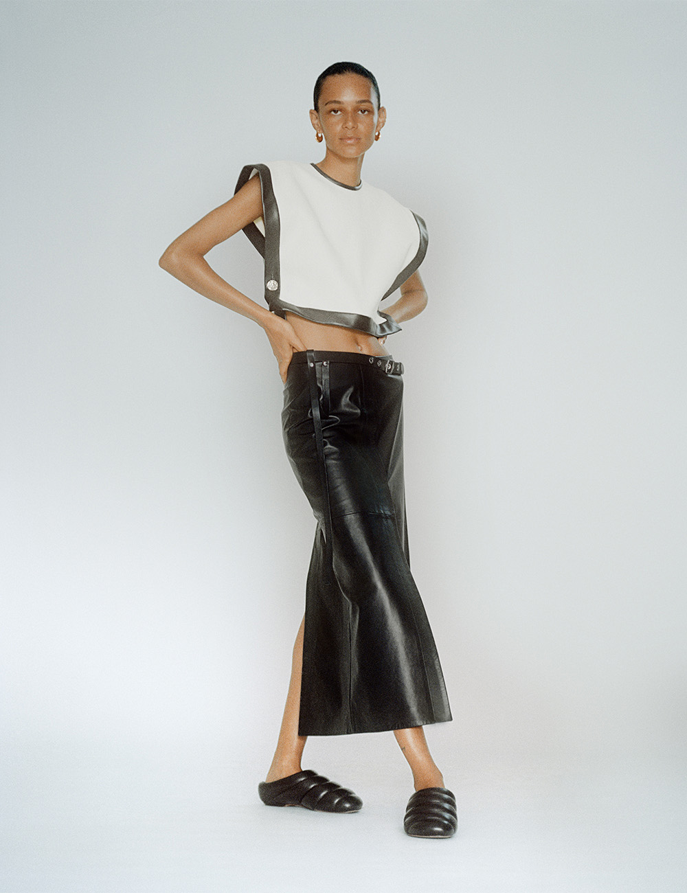 SS21 Look 30: white top and black skirt