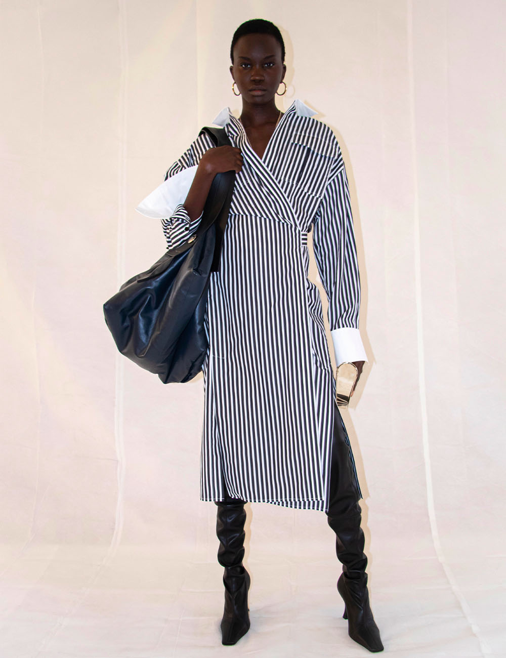 blue and white stripped button down dress