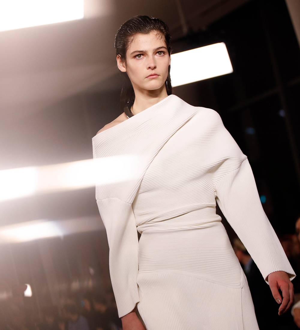 runway image of white knit dress, shop the runway