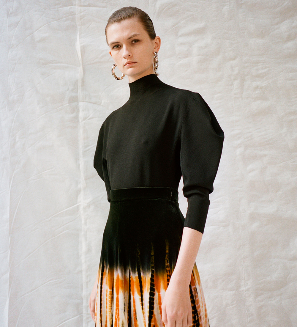 campaign image of the tie dye velvet skirt