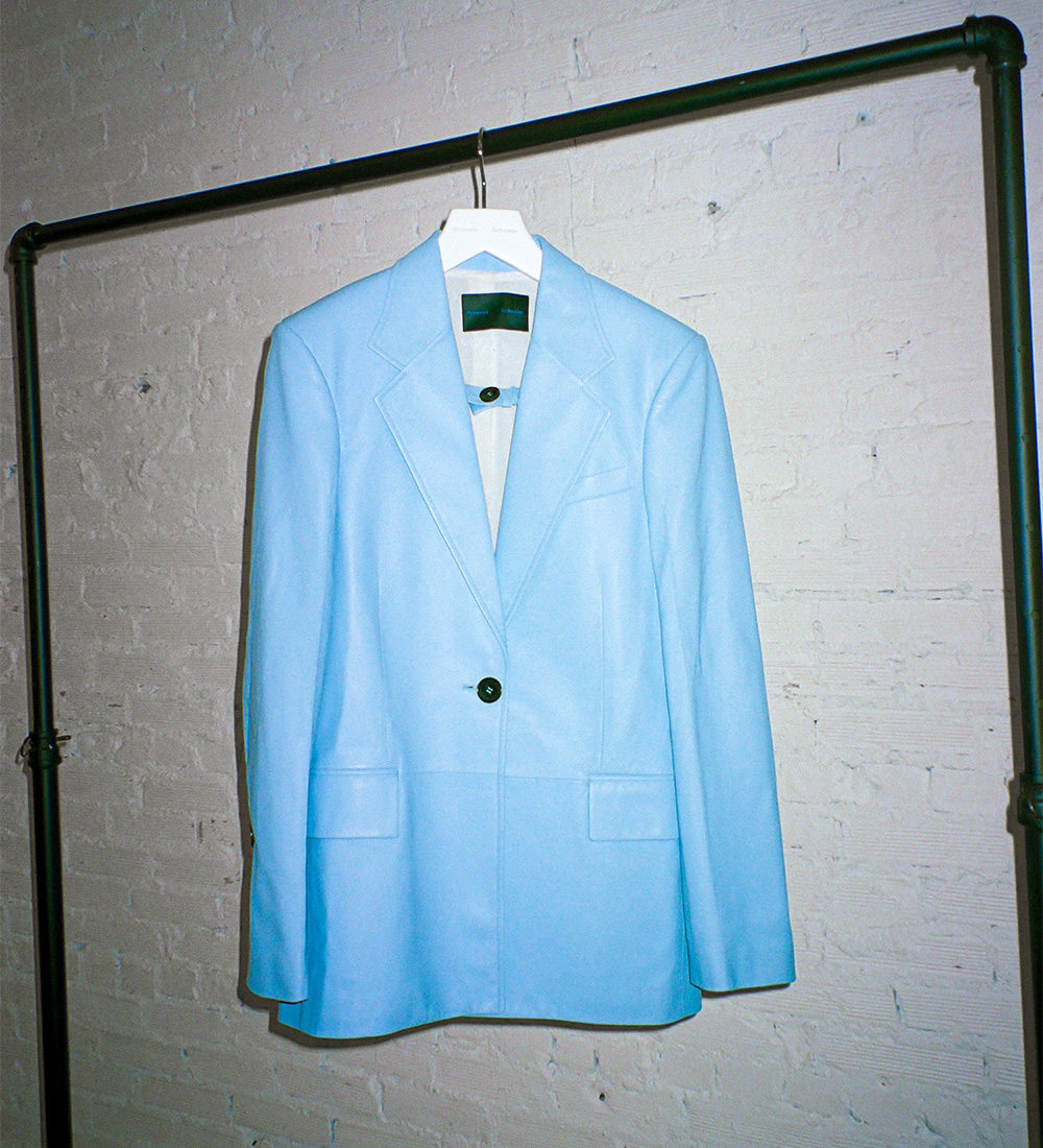 imagery of baby blue leather jacket