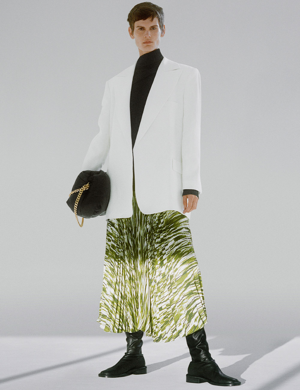 SS21 Look 26: White blazer and green skirt
