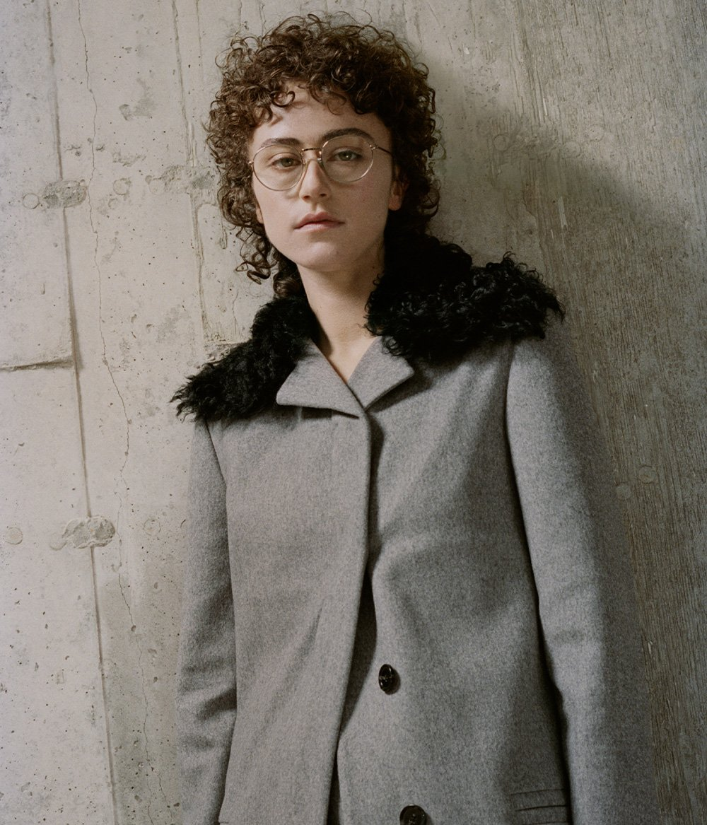 Image of Ella in Melange Virgin Wool Coat with Shearling Collar