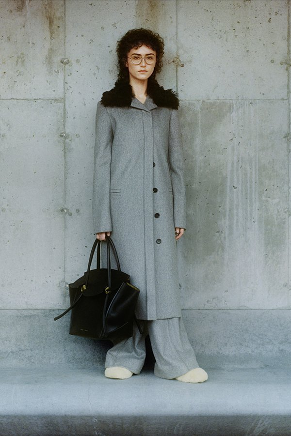 Grey Outerwear, Grey Coat, Grey Pants, Black Handbag