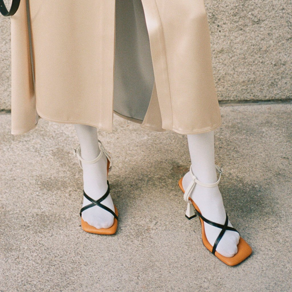 campaign image of strappy sandals