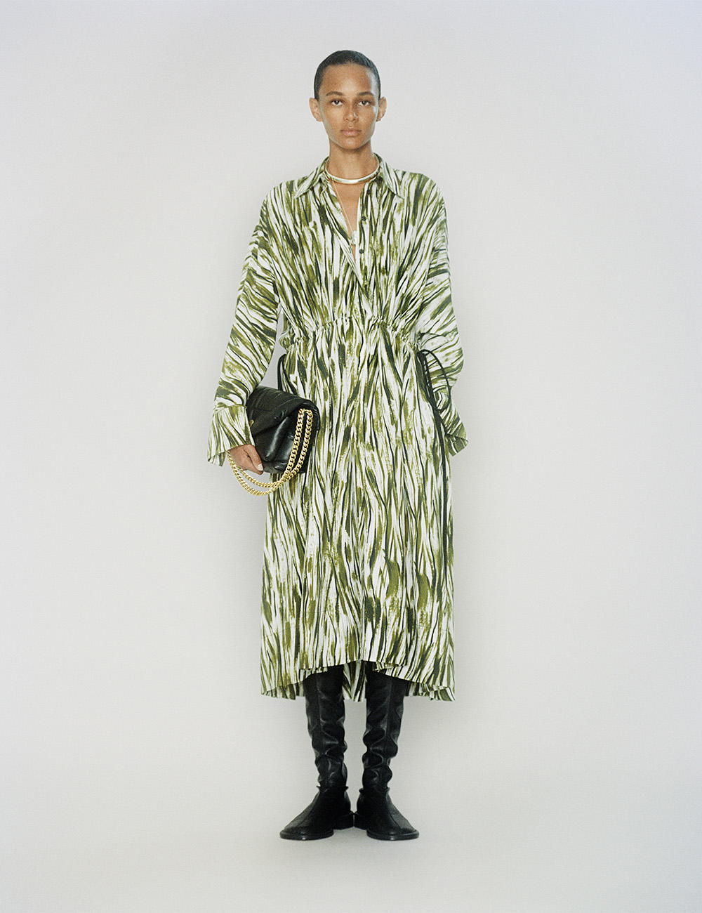 SS21 Look 25: Green and White print dress